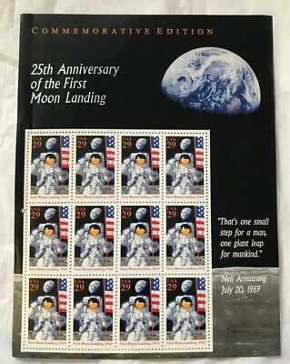 USPS 29c Commemorative 25th Anniversary First Moon Landing Stamps 1969 MNH