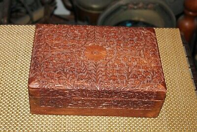 Vintage Wood Trinket Storage Box Carved Flowers