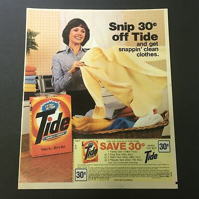 VTG 1987 Procter & Gamble Tide Extra Action Laundry Detergent Print Ad Coupon