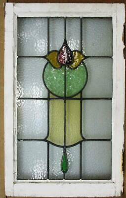 "LARGE OLD ENGLISH LEADED STAINED GLASS WINDOW Colorful Floral Design 20"" x32.25"""