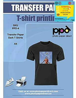 PPD Inkjet T Shirt Transfer Paper A4 For Dark Fabric Pack Of 10 Sheets Brandnew