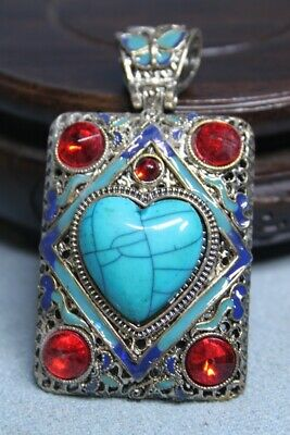Collectable Miao Silver Inlay Red & Blue Gems Noble Precious Beautiful Pendant
