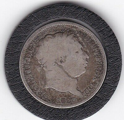1820    King  George  III   Sterling  Silver  Shilling  British Coin