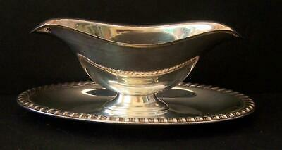 Sweet Gravy / Sauce Boat Bowl Server With Attached Underplate Silver Plate