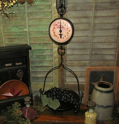 Primitive Antique Vtg Style General Store Hanging Tray Basket Produce Scale
