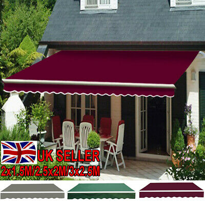 PatioDIY Manual Awning Canopy Outdoor Patio Garden Sun Shade Retractable Shelter
