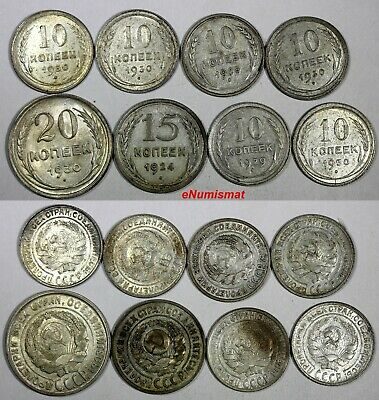 RUSSIA USSR SILVER LOT OF 8 COINS 1924-1930 10,15,20 Kopecks XF-UNC Condition