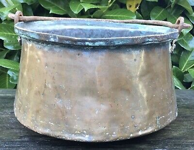 Small Vintage Copper Middle Eastern Cooking Pot Iron Handle Makes Fab Planter