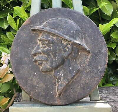 Old Vintage Antique Cast Iron Plaque Depicting The Head Of A French Miner