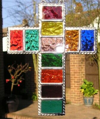 Stained Glass Rainbow Cross, Suncatcher, Hand Made in England