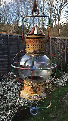Old Antique Late 19th Early 20th Century Hand Painted Bargeware Lantern