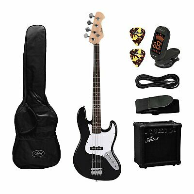 Artist JB2 Black Electric Bass Guitar Plus Accessories with Amp