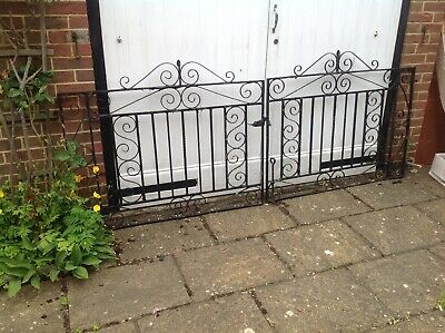"Pair Of Vintage Wrought iron Gates Each Measures 4'4"" X 3'"