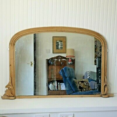 Antique Pine Overmantle mirror - fab distressed original glass. Over Mantle Arch