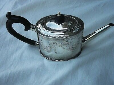 1779 very attractive Bright cut decorated Georgian silver Teapot by Hennell