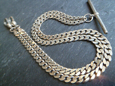 Vintage Solid Silver Double Albert Pocket Watch Chain or T-Bar Necklace
