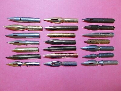 21x vintage dip pen nibs all different calligraphy or collect