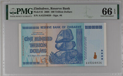 ZIMBABWE 100 TRILLION DOLLARS 2008 P 91 15th LABEL GEM UNC PMG 66 EPQ