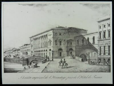 Sankt Petersburg Eremitage Theater Brücke Lithographie Heremitage Russia N