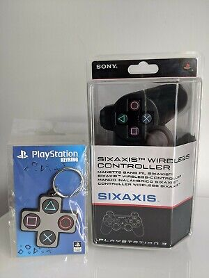 New Official Sony Sixaxis PlayStation 3 PS3 Controller Gamepad Sealed + Keyring