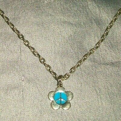 "Girl's Necklace 16"" Long Silver Tone Metal Chain & Flower ""Peace Symbol"" Pendant"