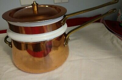 VINTAGE ODI Made in Portugal COPPER AND BRASS Double Boiler pan pot Ceramic