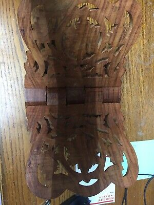 Wood Hand-Carved Bible / Cookbook Holder Folding Stand - Ornate