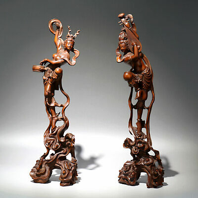 Collectable Antique Boxwood Hand-Carved Fairy A Pair Delicate Precious Statue
