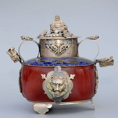 Collect China Old Miao Silver Armour Agate Hand-Carved Buddha & Dragon Censer