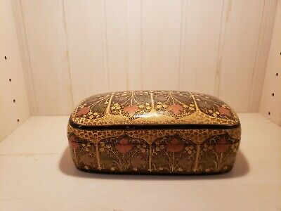 Hand Painted Khokhloma style Russian Carved Lacquer Wood Box Maple Leaves