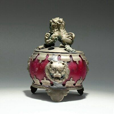 Collectable China Old Miao Silver Armour Agate Hand-Carve Myth Lion Noble Censer
