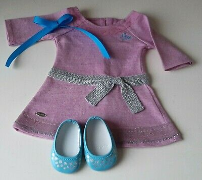"""American Girl TRULY ME LILAC DRESS for 18"""" Doll Shoes Meet Outfit Purple"""