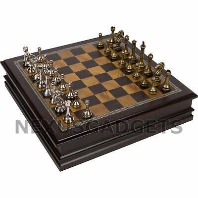 Gris Chess Board Game Set Wood Wooden Inlaid Storage METAL Pieces 12 Inch, New