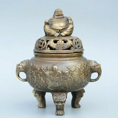 Collect China Old Bronze Hand-Carved Immortal & Happy Buddha Auspicious Censer