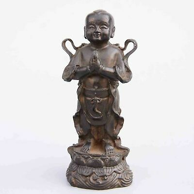 Collect China Old Red Copper Hand-Carved Lovely Fairchild Delicate Luck Statue