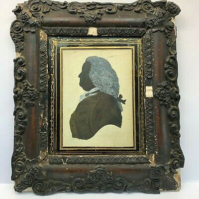 Antique Georgian Gentleman's Portrait Silhouette Painting with Gilt, Framed