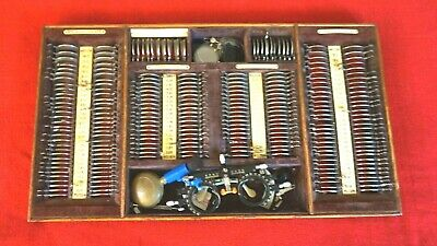 ANTIQUE 1930's OPTOMETRY LENS SET AND ACCESSORIES-261 PIECES