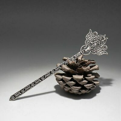 Collect Old Miao Silver Hand-Carved Myth Phoenix & Bloomy Flower Luck Hairpin