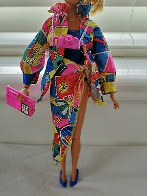 Barbie Doll Clothes 6 Piece Outfit Camera Radio Swimsuit Shoes Sarong Shirt