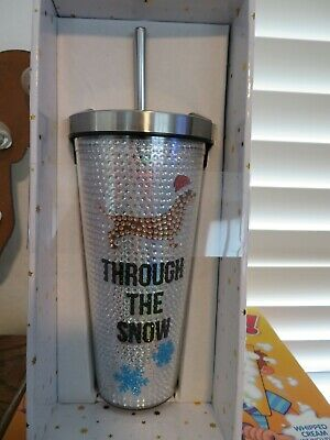 "Dachshund Through The Snow Bling 8"" Drinking Tumbler Cup in Gift Box NEW"