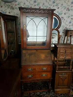 Vintage Early Dark Wood Writing Desk / Bureau / Display cabinet. With Drawers