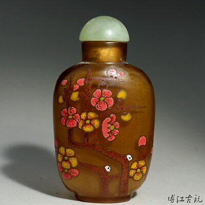 Collectable China Old Coloured Glaze Paint Bloomy Flower Delicate Snuff Bottle