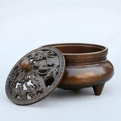 Collectable China Red Copper Hand-Carved Bloomy Flower Delicate Incense Burner