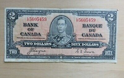 1937 Bank of Canada $2 Two dollar Coyne-Towers VF