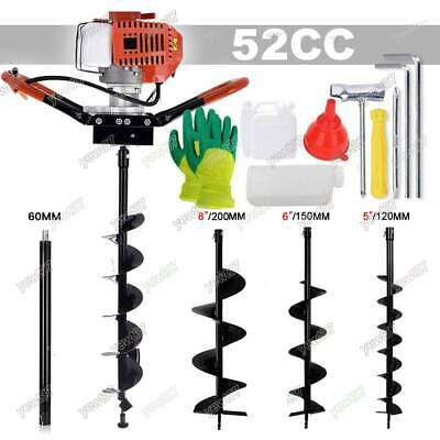 52cc Gas Powered Earth Auger Power Engine Post Hole Digger+Drill Bit Ground US