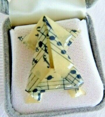 Rare Origami Frog Lapel Pin Made From Sheet Music & Resin Hat or Bag Pin