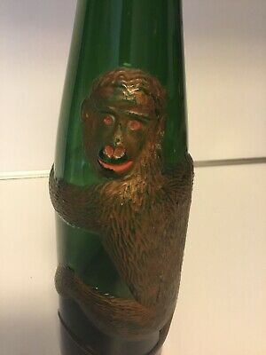 Affentaler Embossed Monkey Vintage Green Glass German Wine Bottle
