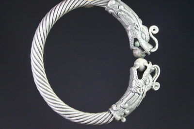 Decorative Rare Miao Silver Carved Dragon Show Bead Screw Thread Lucky Bracelet