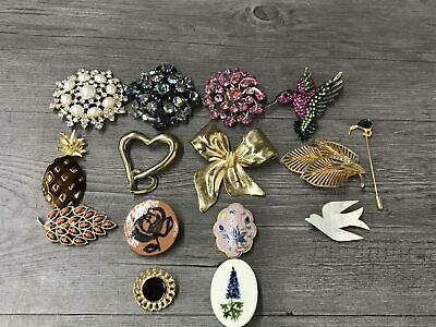 Vintage Pins Brooches Dazzle Sparkle Nature Heart