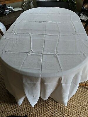 "116"" X 66"" Vintage Antique White LINEN DAMASK Tablecloth Banquet Size Clean!"
